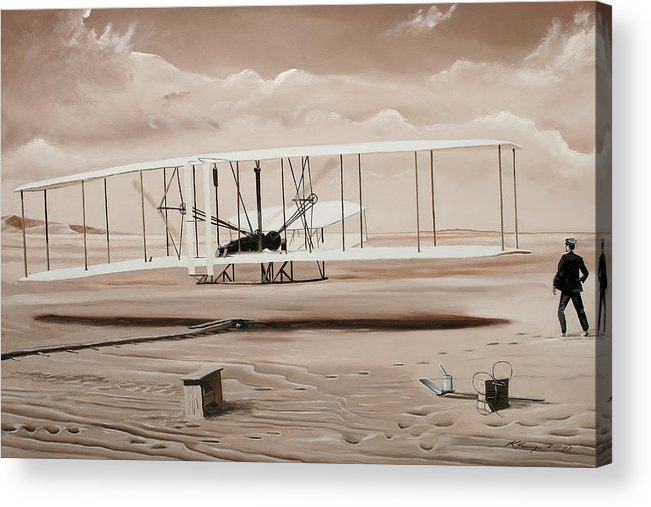 Aircraft Art Acrylic Print featuring the painting The First To Fly by Kenneth Young