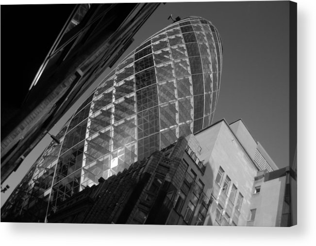 Gherkin Acrylic Print featuring the photograph The Gherkin Black And White by Chris Day