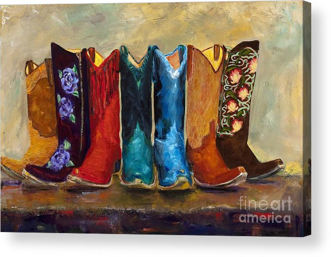 Cowboy Boots Acrylic Print featuring the painting The Girls Are Back In Town by Frances Marino