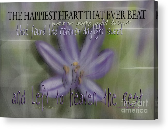 Purple Acrylic Print featuring the photograph The Happiest Heart That Ever Beat by Vicki Ferrari