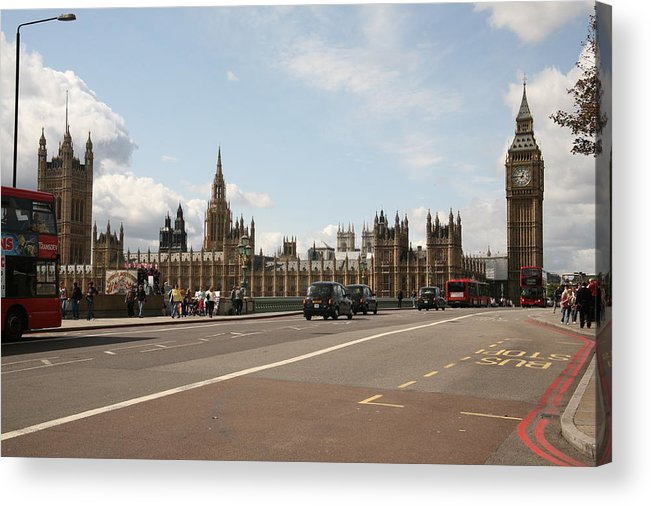 Busses Acrylic Print featuring the photograph The Houses Of Parliament. by Christopher Rowlands
