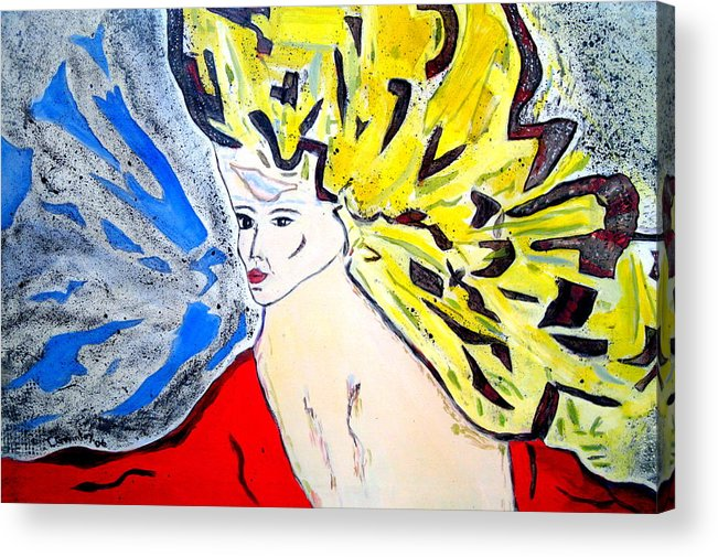 Lady Acrylic Print featuring the painting The Incredible Hulkstress by Lessandra Grimley