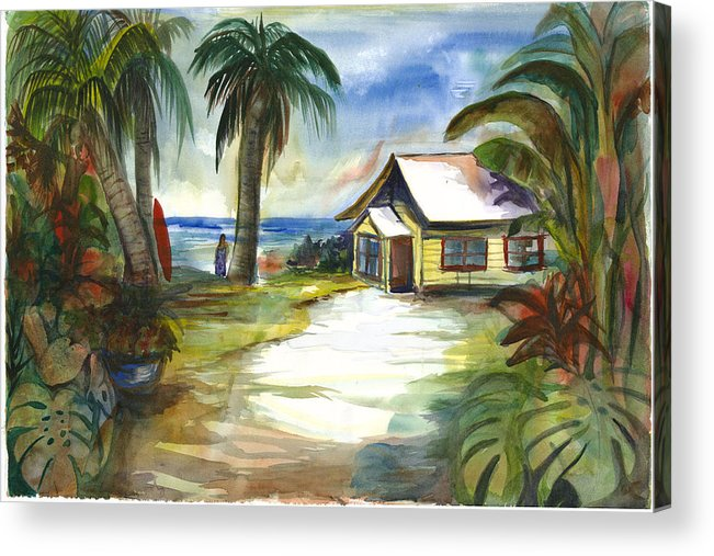 Yellow Beach Cottage Acrylic Print featuring the painting The Little Yellow Beach House by Ileana Carreno