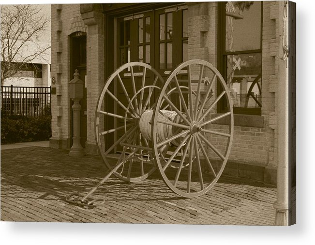 Fire Acrylic Print featuring the photograph The Old Fire House Sepia by David Dunham