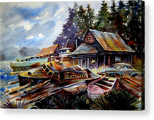 Boats Acrylic Print featuring the painting The Preserve Of Captain Flood by Ron Morrison