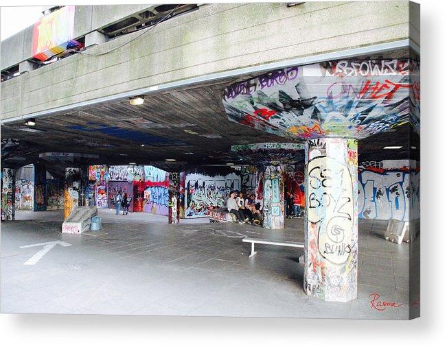 Graffiti Acrylic Print featuring the photograph The Queen's Skatepark by Rasma Bertz