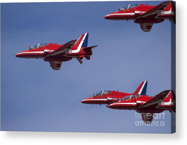 Red Arrows Acrylic Print featuring the photograph The Race by Angel Ciesniarska