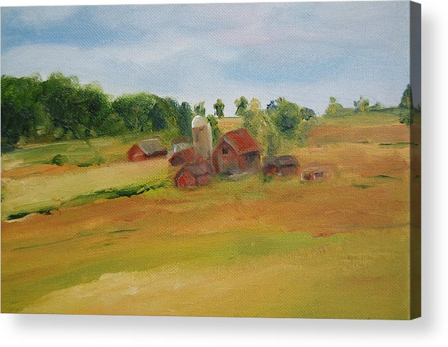 Barn Acrylic Print featuring the painting The Red Barn by Lisa Konkol