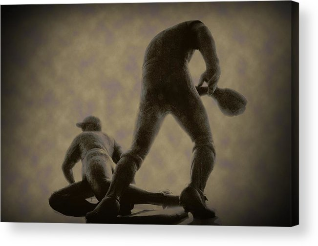 Baseball Acrylic Print featuring the photograph The Slide - Kick Up Some Dust by Bill Cannon