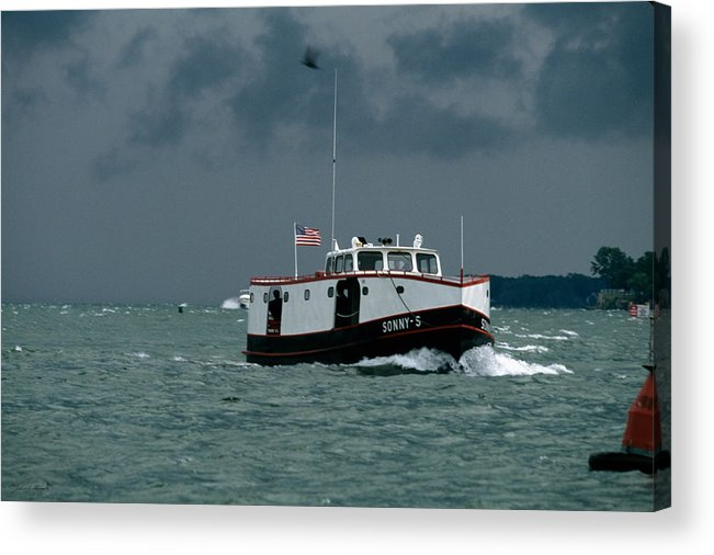 Ferry Acrylic Print featuring the photograph The Sonny S Returning From Lonz Winery On Middle Bass Island by John Harmon
