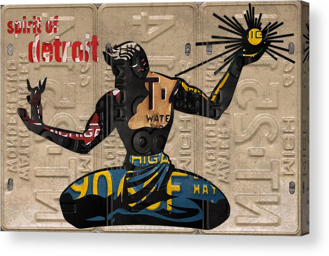 The Spirit Of Detroit Acrylic Print featuring the mixed media The Spirit Of Detroit Statue Recycled Michigan License Plate Art Homage by Design Turnpike