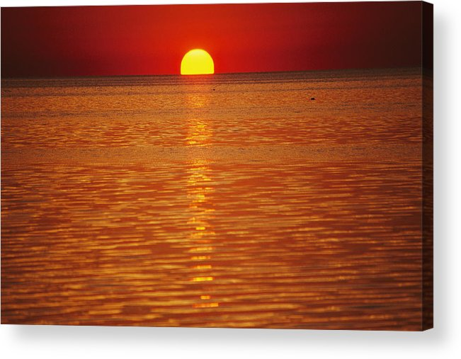 Atlantic Ocean Acrylic Print featuring the photograph The Sun Sinks Into Pamlico Sound Seen by Stephen St. John