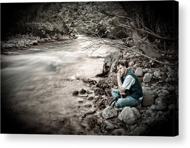 Man Acrylic Print featuring the photograph The Thinker by Gabriela Insuratelu