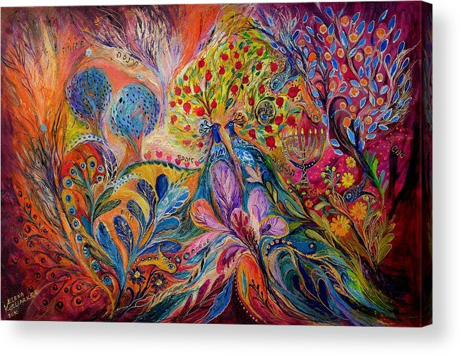 Original Acrylic Print featuring the painting The Trees Of Eden by Elena Kotliarker