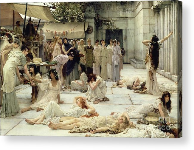 The Acrylic Print featuring the painting The Women Of Amphissa by Sir Lawrence Alma-Tadema