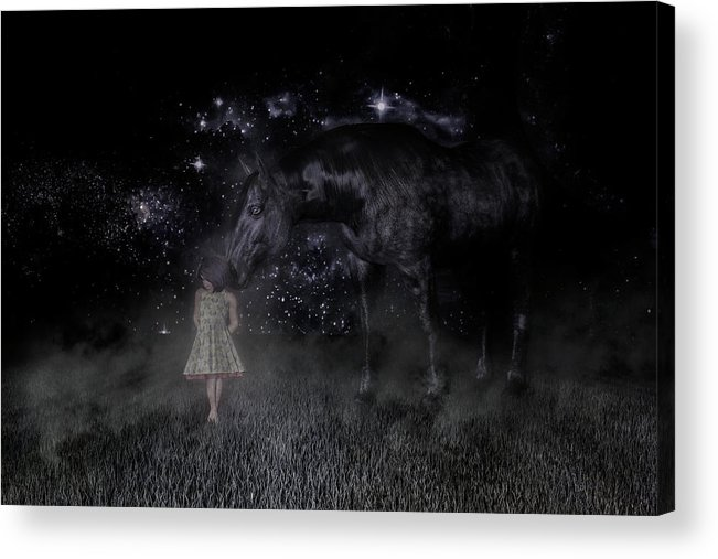 Horse Acrylic Print featuring the digital art Thinking Of You by Betsy Knapp