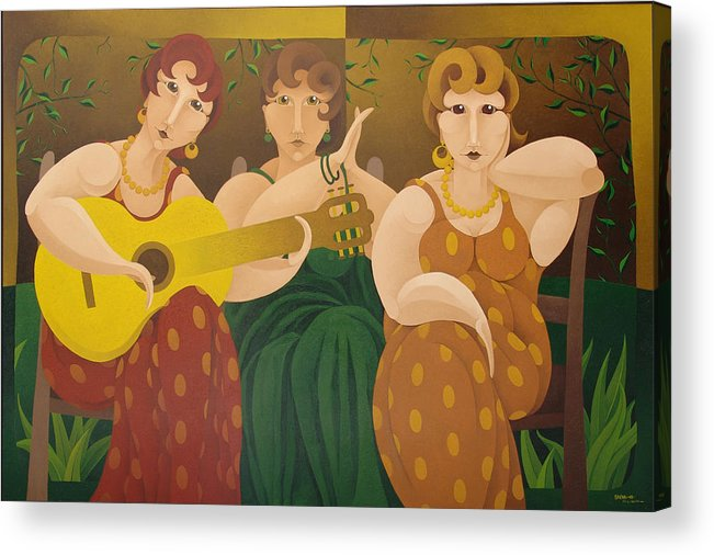 Sacha Acrylic Print featuring the painting Three Women 2005 by S A C H A - Circulism Technique