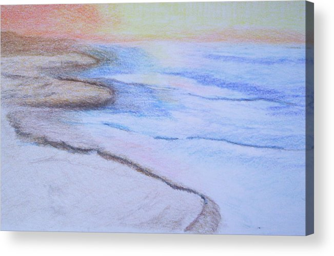 Landscape Acrylic Print featuring the drawing Tide Is Out by Suzanne Udell Levinger
