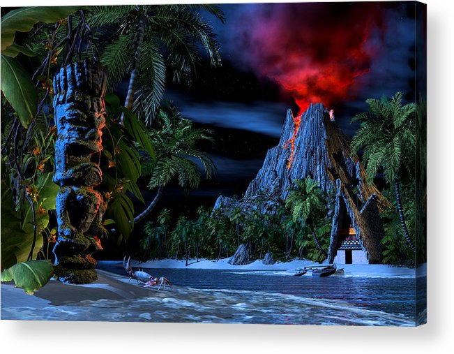 Tiki Acrylic Print featuring the digital art Tiki Jungle by Alex George