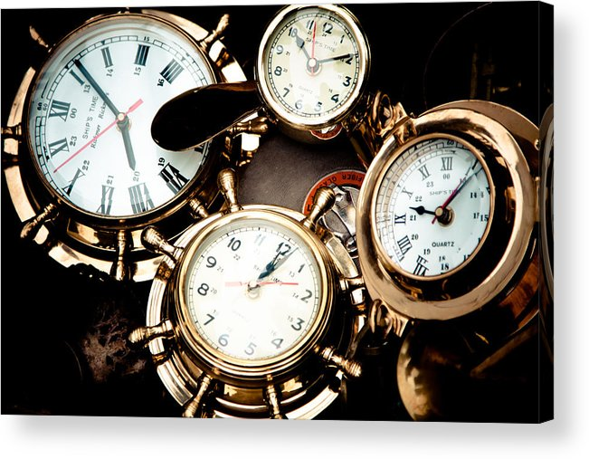 Old; Antique; Retro; Background; Style; Art; Decor; Decorating; Decoration; Grunge; Antiquities; Object; Old-fashioned; Classic; Collection; Valuable; Junk; Together; Gathered; Clock; Time; Watch; Metal; Vintage; Acrylic Print featuring the photograph Time by Gabriela Insuratelu