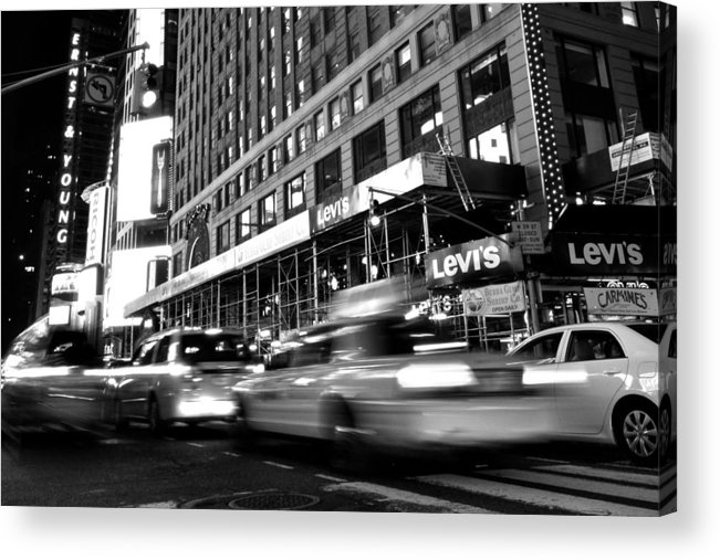Black Acrylic Print featuring the photograph Times Square Taxi by Gene Sizemore