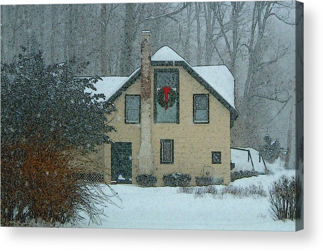 Brandywine Pennsylvania Carriage House Rural Country Snow Snowy Woodsy Kennett Square Acrylic Print featuring the photograph Tis The Season by Gordon Beck