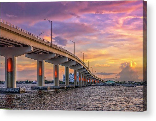 Bridge Acrylic Print featuring the photograph Titusville Sunset Bridge by Louise Hill
