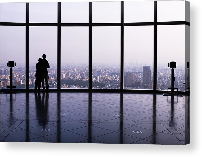 Geometric Acrylic Print featuring the photograph Tokyo Cityscape by Kam Chuen Dung