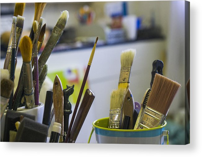 Paint Brushes Acrylic Print featuring the photograph Tools Of The Trade by Steve Gravano