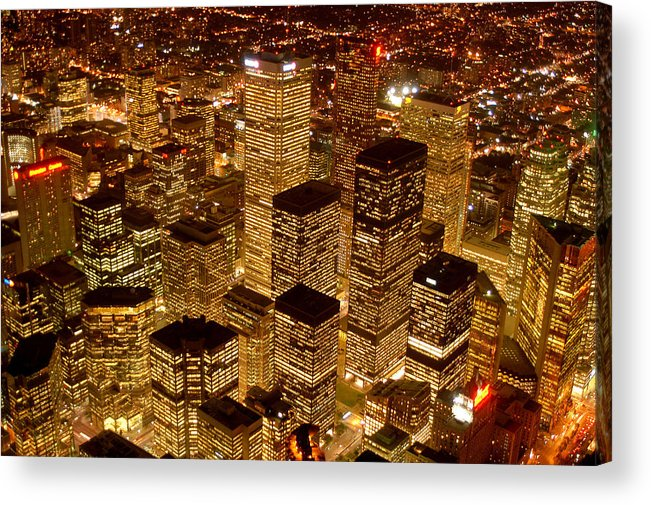 City Scape Acrylic Print featuring the photograph Toronto At Night by Linda McRae
