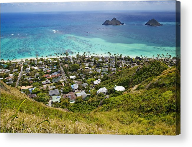 Aerial View Acrylic Print featuring the photograph Town Of Kailua With Mokulua Islands by Inti St. Clair