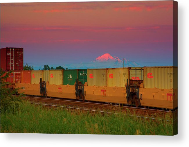 Mount Baker Acrylic Print featuring the photograph Train And Mount Baker by Paul Kloschinsky