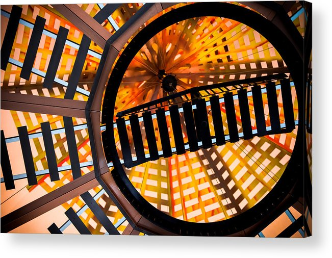 Railroad Tracks Acrylic Print featuring the photograph Train Track Abstract by Karen Wiles