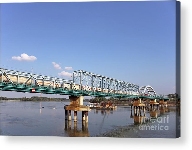 Bridge Acrylic Print featuring the photograph Train With Tank Wagon On Bridge by Goce Risteski