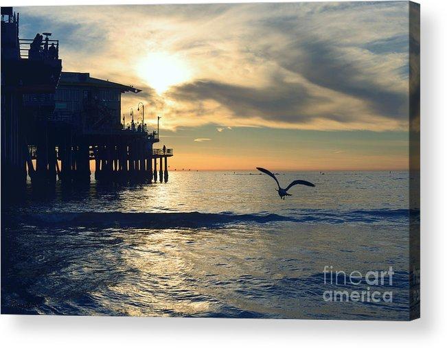 Seagull Acrylic Print featuring the photograph Seagull Pier Sunrise Seascape C1 by Ricardos Creations