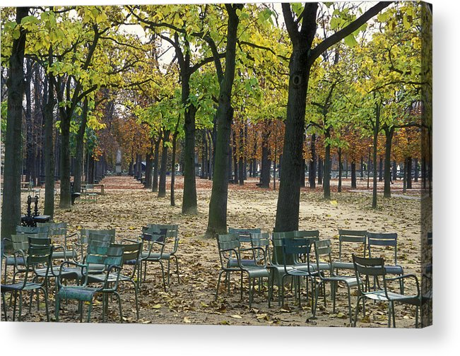 Outdoors Acrylic Print featuring the photograph Trees And Empty Chairs In Autumn by Stephen Sharnoff