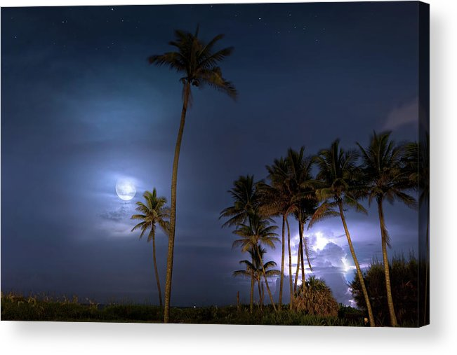 Lightning Acrylic Print featuring the photograph Tropical Moon by Mark Andrew Thomas