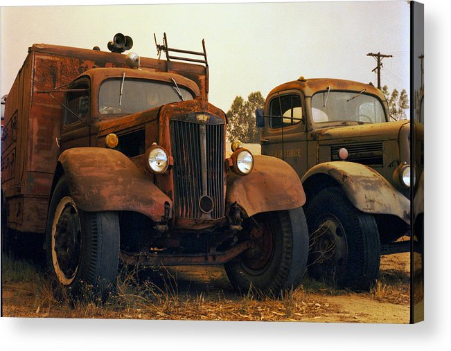 Smoke Trucks Perris Museum Military Old Texture Fire Acrylic Print featuring the photograph Trucks Under Smoke by Lawrence Costales