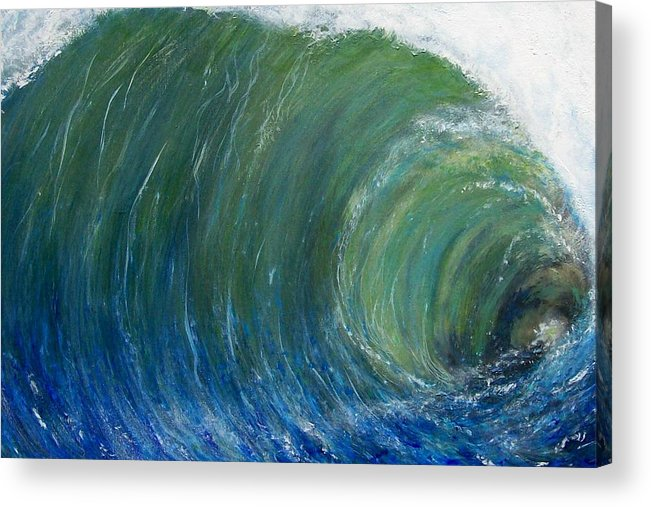 Wave Acrylic Print featuring the painting Tube Of Water by Tony Rodriguez