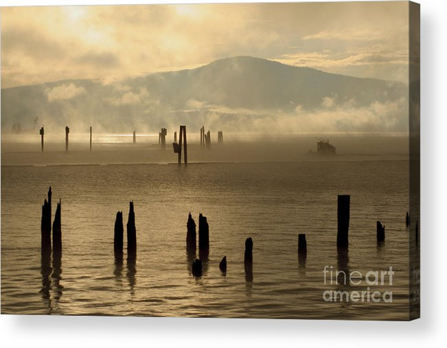 Tugboat Acrylic Print featuring the photograph Tugboat In The Mist by Idaho Scenic Images Linda Lantzy