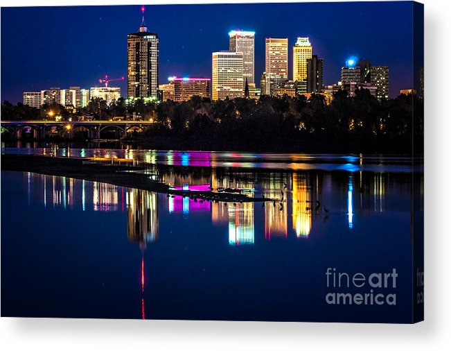 Tulsa Acrylic Print featuring the photograph Tulsa Skyline At Twilight by Tamyra Ayles