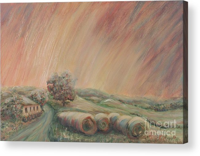 Landscape Acrylic Print featuring the painting Tuscany Hayfields by Nadine Rippelmeyer