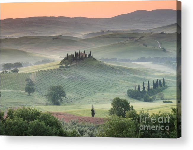 View Of The Countryside With The Belvedere In The Distance (photo) Landscape; Italian; Tuscan; Tuscany; Rural; Val D'orcia; Villa; Spring; Scenic; Atmospheric; Hilltop; Building; Architecture; Exterior; Remote; Isolated; Cloud Acrylic Print featuring the photograph Tuscany by Tuscany