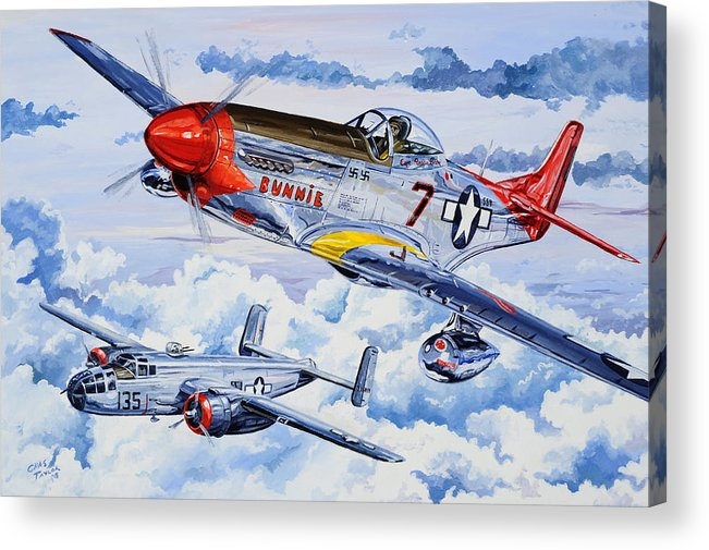 P-51 Mustang Acrylic Print featuring the painting Tuskegee Airman by Charles Taylor