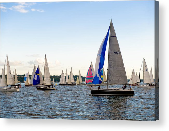 Seattle Acrylic Print featuring the photograph Twilight Boat Party by Tom Dowd
