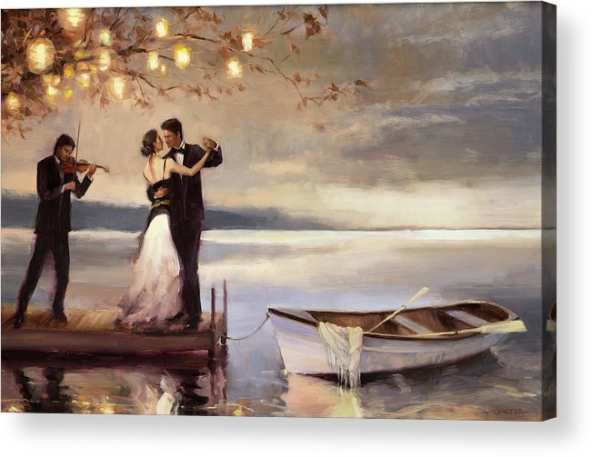 Romantic Acrylic Print featuring the painting Twilight Romance by Steve Henderson