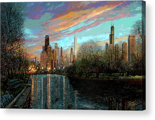 City Acrylic Print featuring the painting Twilight Serenity II by Doug Kreuger