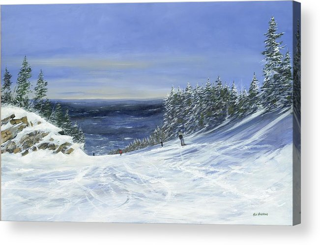 Ski. Skiing Acrylic Print featuring the painting Two By Two by Ken Ahlering