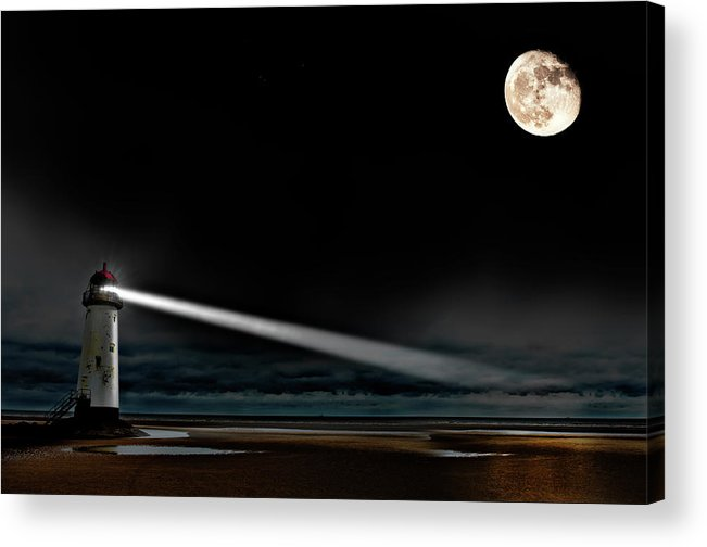 Lighthouse Acrylic Print featuring the photograph Two Guiding Lights by Meirion Matthias