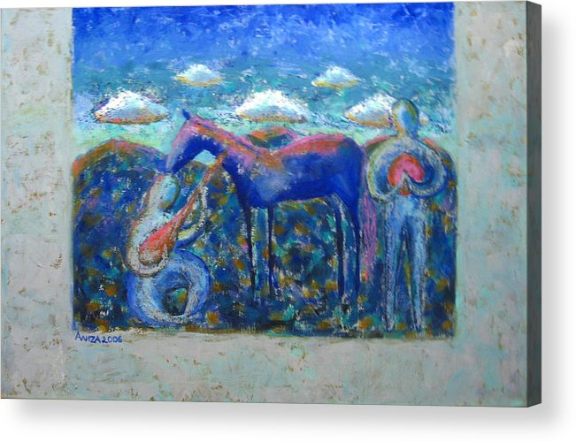 Horse Acrylic Print featuring the painting Two Spirits by Aliza Souleyeva-Alexander